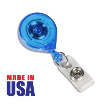 Made in the USA Round Translucent Blue Badge Reel