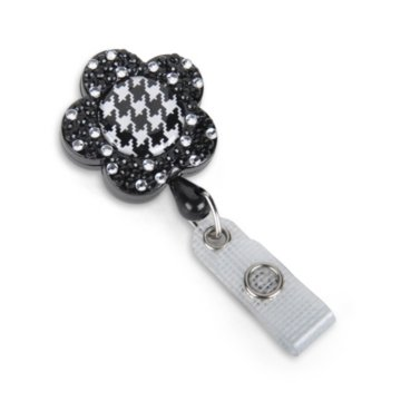 Flower Fashion Badge Reel with Sparkles