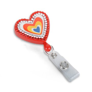 Heart Fashion Badge Reel with Sparkles
