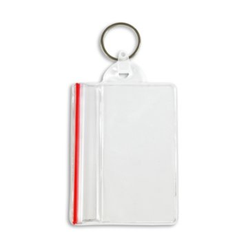 Vertical Sealable Holder with Key Ring Attachment