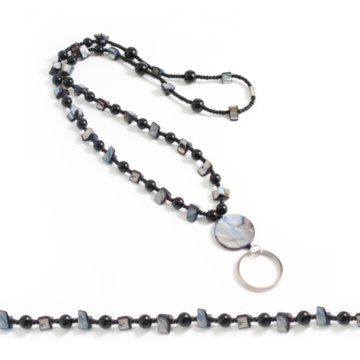 Black Beaded Lanyard