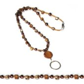 Brown Beaded Lanyard