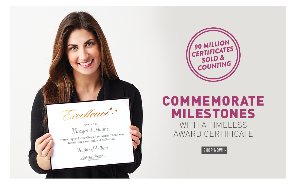Commemorate milestones with a timeless award certificate