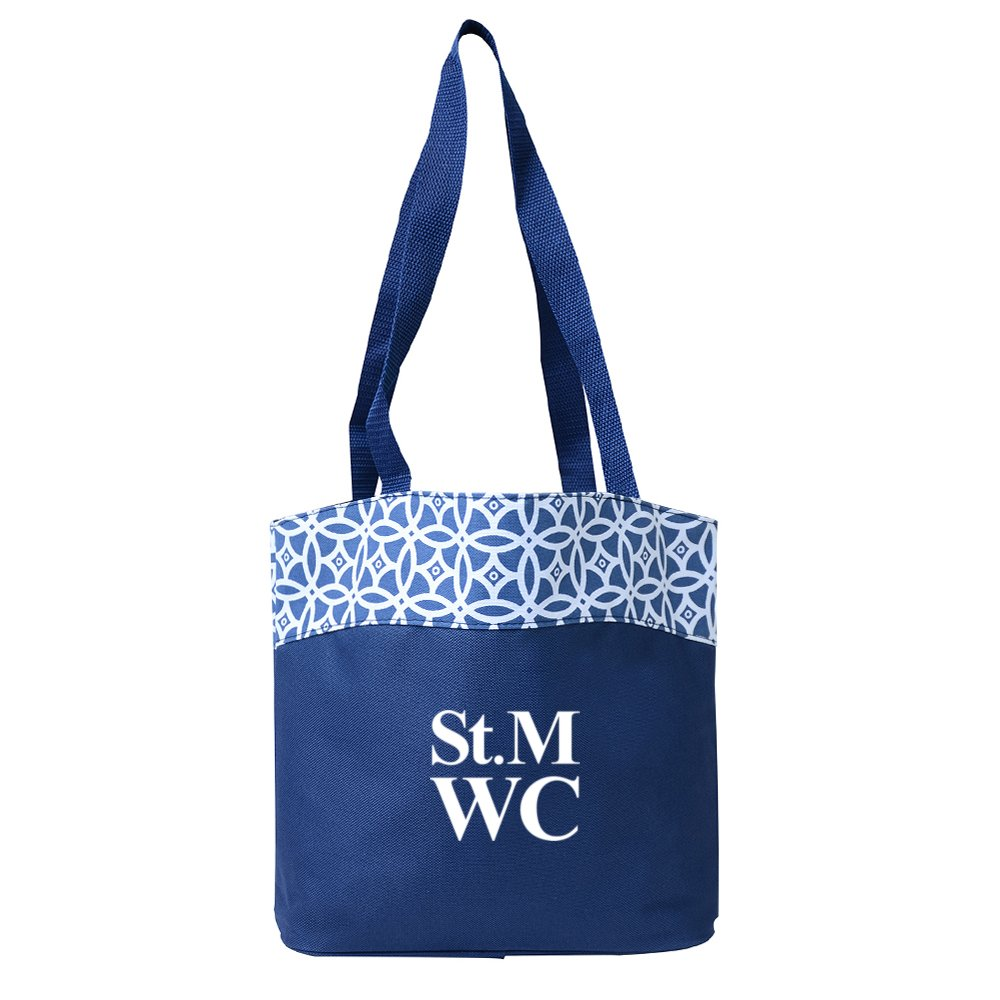 Patterned Trim Tote Bag