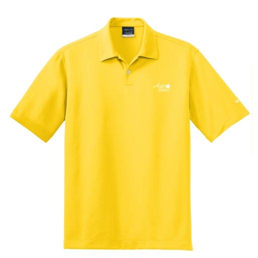Nike golf men 39 s dri fit pebble texture polo pure promo for Yellow golf polo shirts