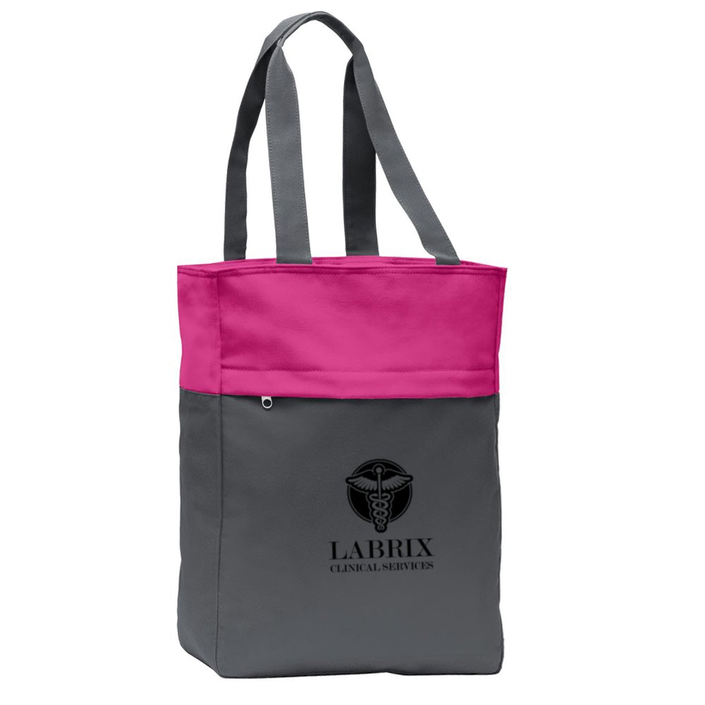 Embroidered Port Authority® Colorblock Tote Bag
