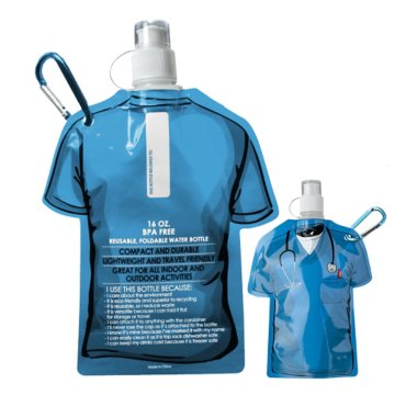 Medical Scrubs Themed Folding Water Bottle