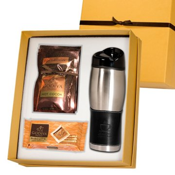 Leather Wrap Travel Mug & Godiva Gift Set