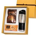 Leather Wrap Travel Mug & Godiva Gift Set