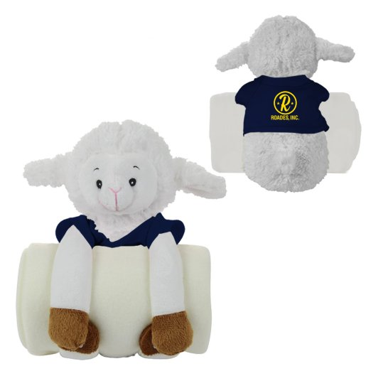Soothing Children's Blanket & Stuffed Lamb Animal Combo
