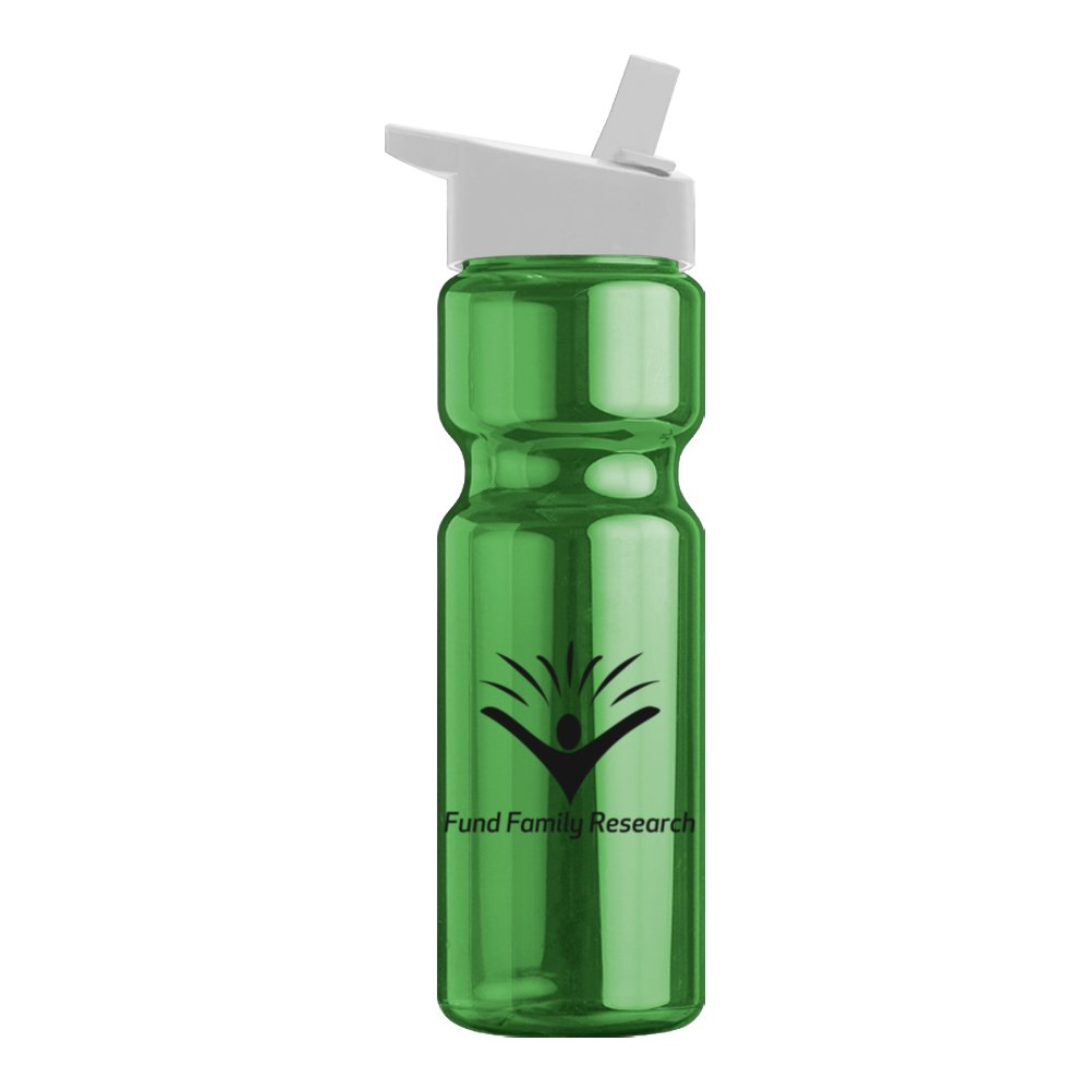 Translucent Sports Water Bottle with Flip-Straw Lid