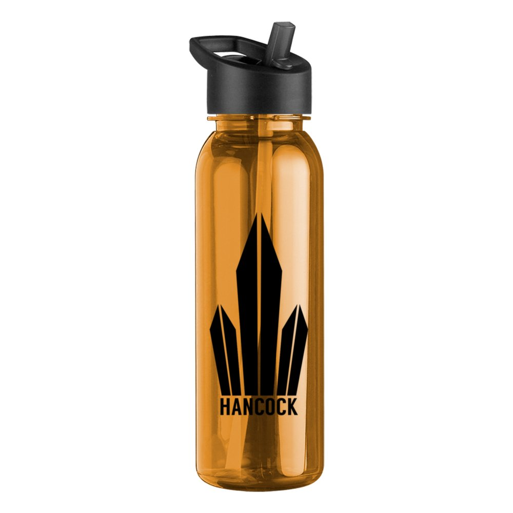 Round Top Sports Water Bottle with Flip-Straw Lid