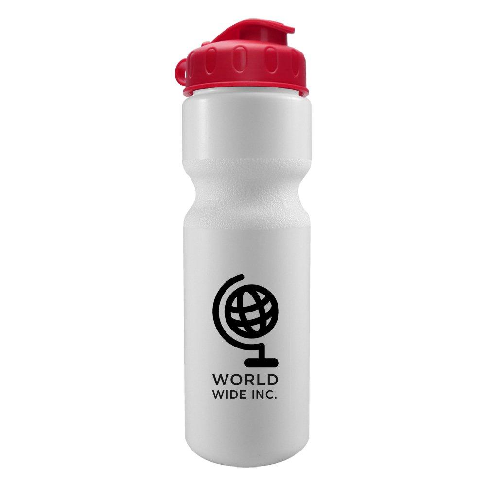 28 oz. Bike Water Bottle with Flip-Top Lid - White