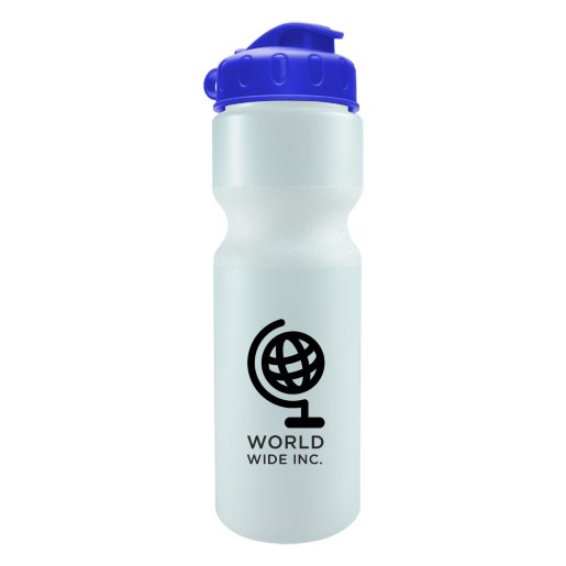 28 oz. Bike Water Bottle with Flip-Top Lid - White