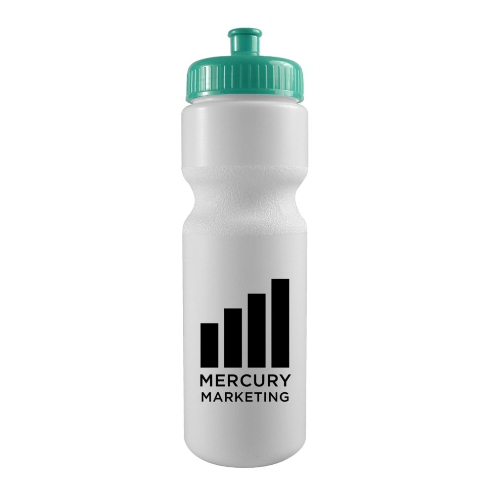 28 oz. Bike Water Bottle with Push/Pull Cap - White
