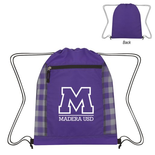 Checkered Drawstring Bag
