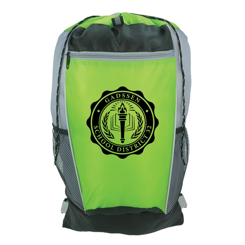 Adjustable Strap Tri-Color Drawstring Backpack