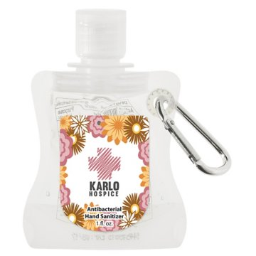 1 Oz. Hand Sanitizer Pouch With Carabiner