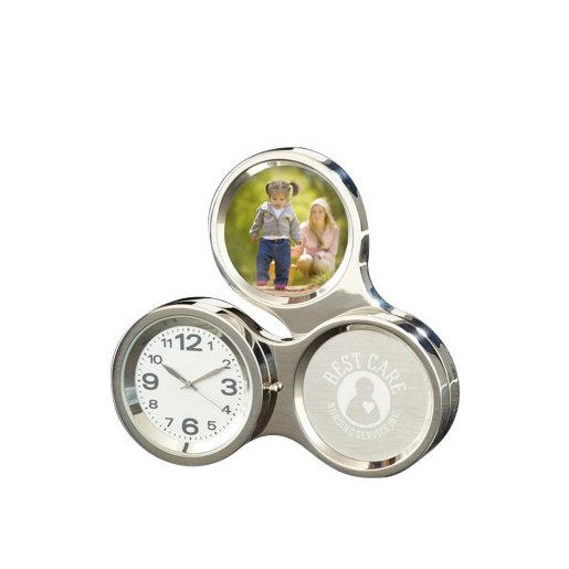 Silver Round About Desk Clock with Frame