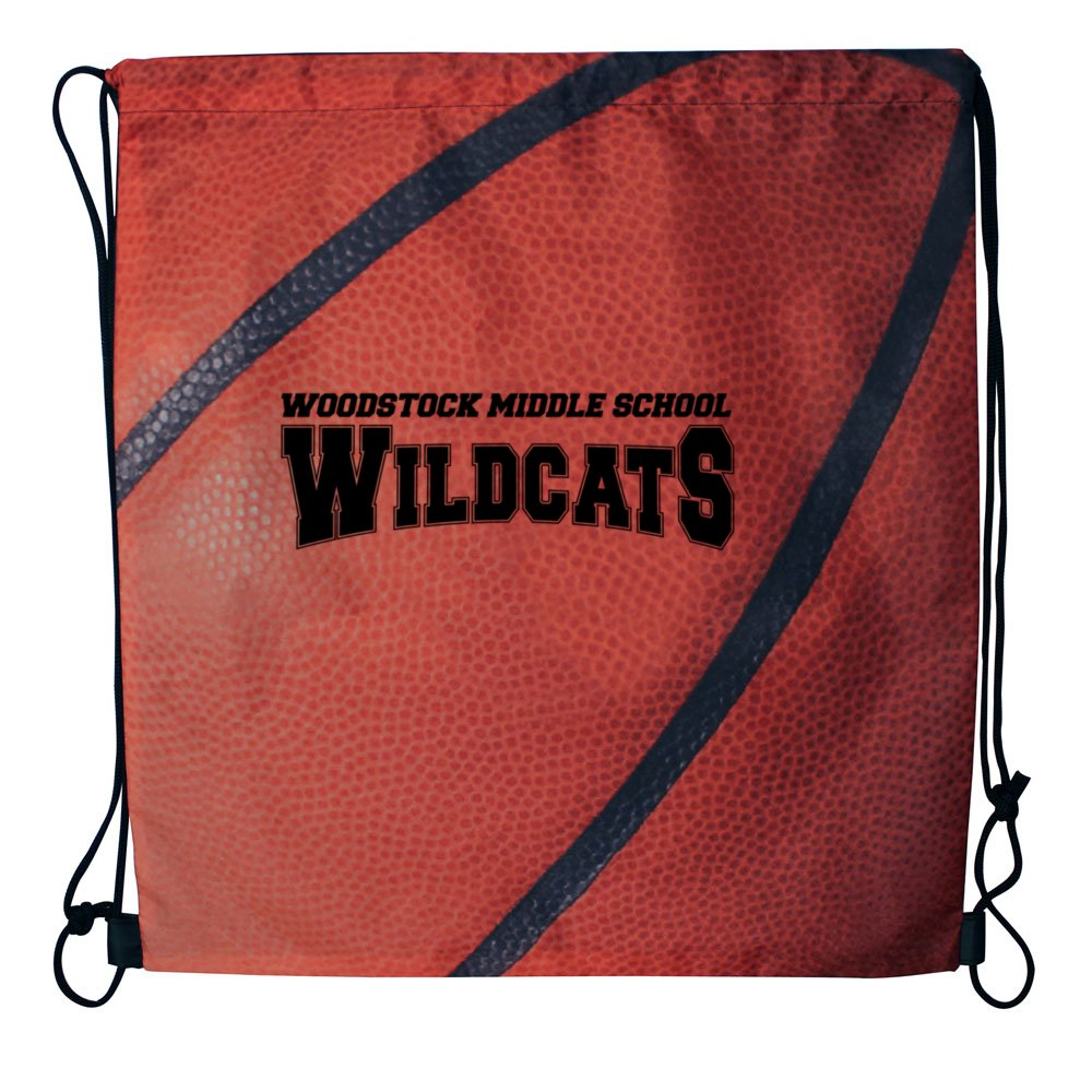Sport Themed Drawstring Backpack - Basketball
