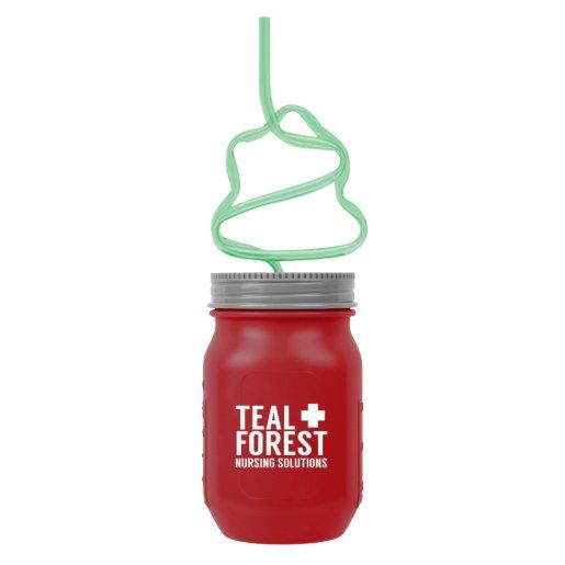 Mason Jar Cups with Holiday Straw