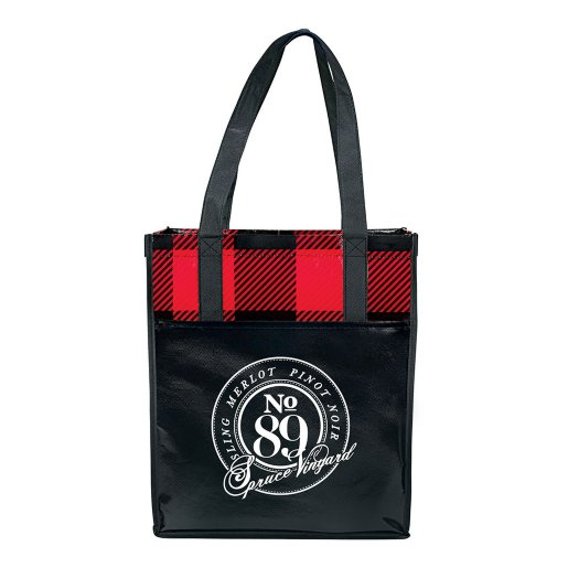 Plaid You're Here Grocery Tote