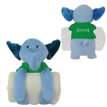 Soothing Children's Blanket & Elephant Stuffed Animal Combo