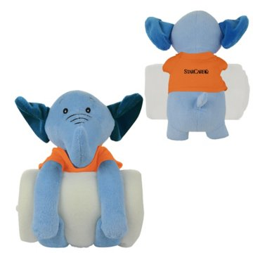 Soothing Children's Blanket & Elephant Stuffed Animal Combo