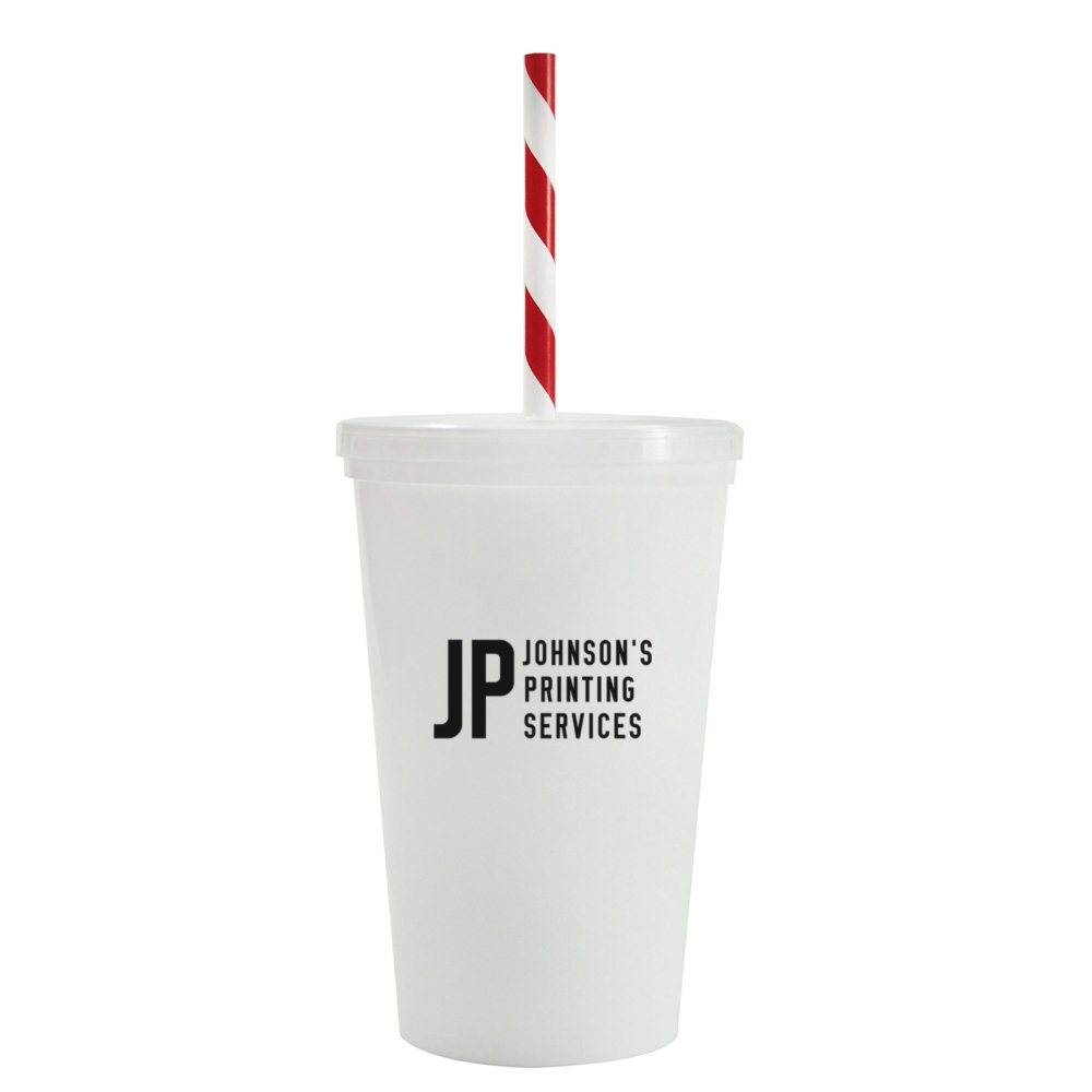 Value Tumbler with Candy Striped Straw