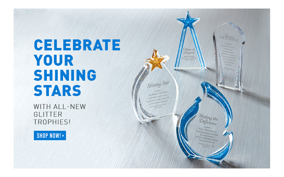 Celebrate your shining stars with all-new glitter trophies!