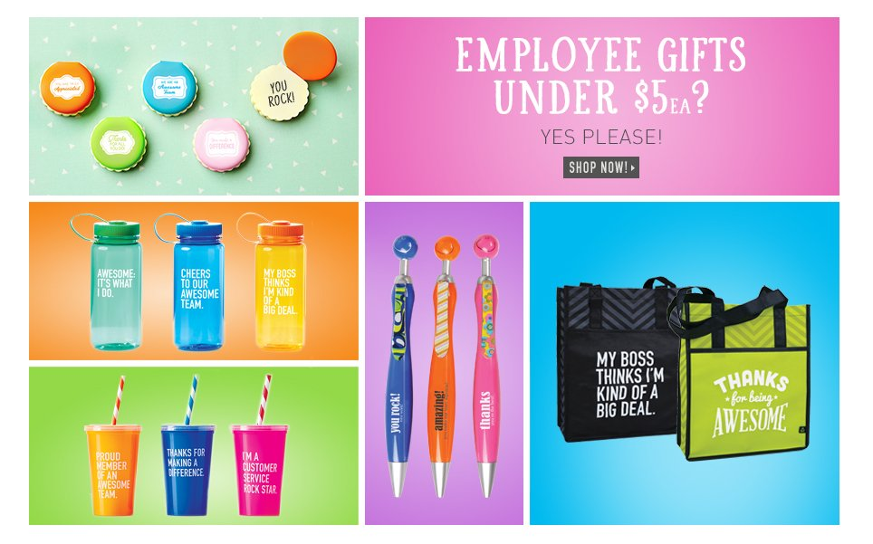 Shop Employee Gifts For Under $5 Each!